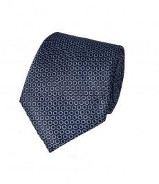 Мужской галстук, темно-синий в светло-голубой круг - 100% шелк