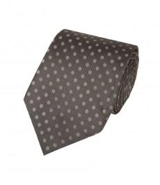 Мужской галстук, серый в крапинку - 100% шелк