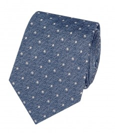 Мужской галстук, темно-синий в крапинку - 100% шелк