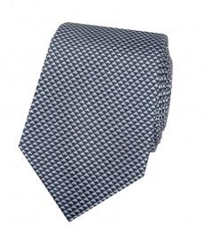 Мужской галстук, темно-синий, мелкий треугольник - 100% шелк