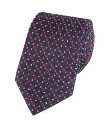 Мужской галстук, тёмно-синий с красным геометрическим узором, коллекция