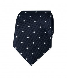 Мужской галстук, темно-синий в белый горох - 100% шелк