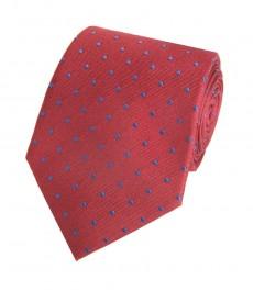 Мужской галстук, винный в голубую крапинку - 100% шелк