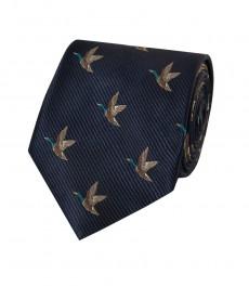 Мужской галстук, темно-синий, утки - 100% шелк