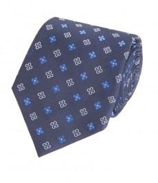 Мужской галстук, темно-синяя и голубая геометрия - 100% шелк