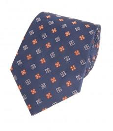 Мужской галстук, темно-синяя и оранжевая геометрия - 100% шелк