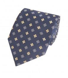 Мужской галстук, темно-синяя и желтая цветочная геометрия - 100% шелк