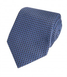 Мужской темно-синий галстук, геометрия - 100% шелк