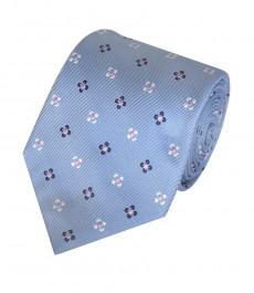 Мужской галстук, светло-голубой в цветок - 100% шёлк