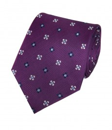 Мужской галстук, фиолетовый в два тона в цветок - 100% шёлк