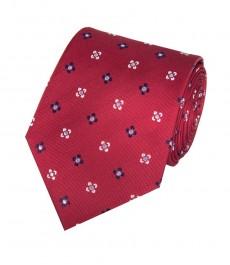 Мужской галстук, красный в два тона в цветок - 100% шелк