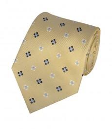 Мужской галстук, желтый в два тона в цветок - 100% шёлк