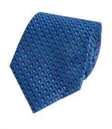Мужской галстук, бирюзовый в два тона, мелкие квадраты - 100% шелк