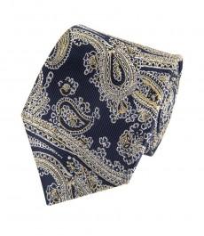 Мужской галстук, темно-синий, желтый пейсли - 100% шёлк