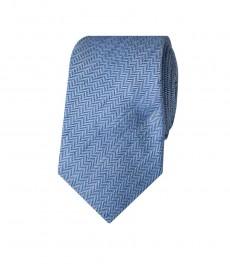 Мужской светло-голубой галстук, шелк, лен, ткань ёлочка