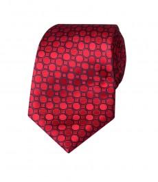 Мужской галстук, красный в геометрический принт - 100% шелк
