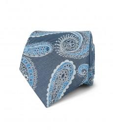 Мужской галстук, темно-синий, узор крупный пейсли - 100% шёлк