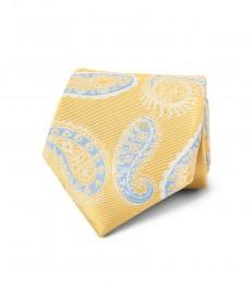 Мужской галстук, жёлтый, узор - крупный пейсли - 100% шёлк