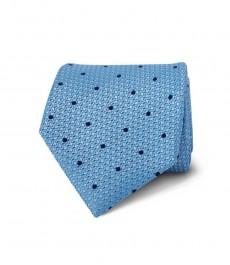 Мужской галстук, светло-голубой в темно-синюю крапинку - 100% шёлк