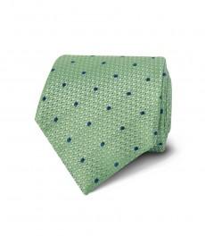 Мужской галстук, зеленый в темно-синюю крапинку - 100% шёлк