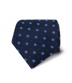 Мужской тёмно-синий галстук в голубой мелкий геометрический принт - 100% шёлк