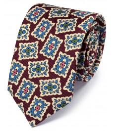 Бордово-голубой шёлковый роскошный галстук с английским принтом в виде медальона