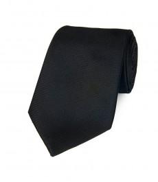 Мужской однотонный чёрный галстук 100% шёлк