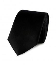 Мужской однотонный черный галстук-100% шелк, узский, 7см