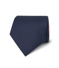 Мужской галстук, тёмно-синий, красный в два тона - 100% шёлк