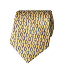 Мужской галстук, желтый, принт цепи - 100% шелк