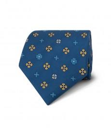 Men's Blue & Yellow Printed Windmills Tie - 100% Silk