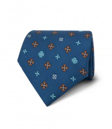Men's Blue & Turquoise Printed Windmills Tie - 100% Silk