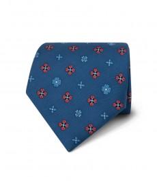 Men's Blue & Coral Printed Windmills Tie - 100% Silk