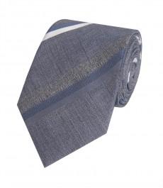 Мужской галстук, серый в полоску 100% шелк