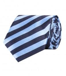 Галстук темно-синий в светло-голубую полоску, 100% шелк