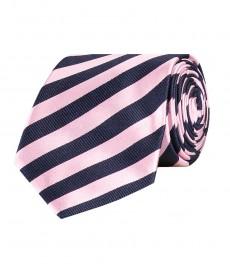Галстук темно-синий в светло-розовую полоску, 100% шелк