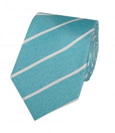 Мужской галстук зеленовато-голубого цвета с широкой полоской - 100% шёлк