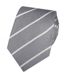 Мужской галстук серый в широкую полоску - 100% шёлк
