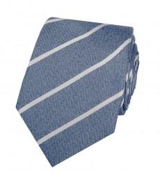Мужской серый с тёмно-синим стильный галстук в широкую полоску - 100% шёлк