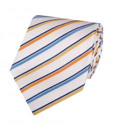 Мужской галстук, белый в голубую мульти полоску - 100% шелк