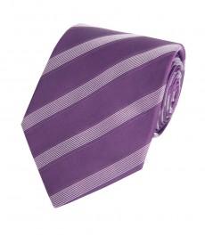 Мужской галстук, фиолетовый в полоску, крапинка, 100% шелк