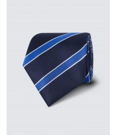 Мужской английский галстук, тёмно-синий в голубую полоску, текстурный