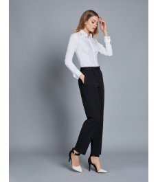 Женские чёрные твиловые брюки