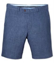 Голубые приталенные льняные шорты