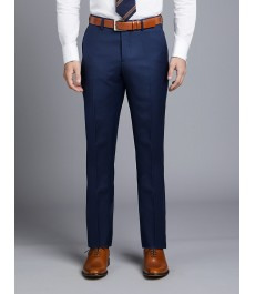 Мужские ярко-синие приталенные брюки от костюма, твиловая текстура ткани