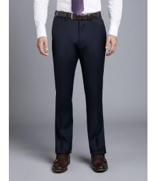 Мужские тёмно-синие приталенные брюки от костюма, твиловая текстура ткани