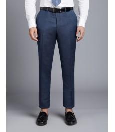 Мужские приталенные серо-голубые брюки от костюма Birdseye с ромбовидным узором