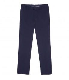 Мужские тёмно-синие экстраприталенные хлопковые брюки, слаксы