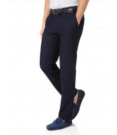Тёмно-синие приталенные брюки, хлопок лён