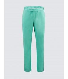 Мужские хлопковые приталенные брюки-слаксы, зелёного цвета